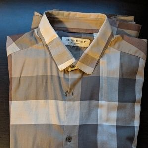 Burberry button down shirt with check all over